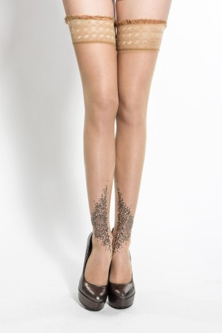 Lascivious Bebaroque Embellished Hold-Up Tan Stockings